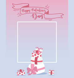 happy valentines day design elements frame with vector image