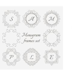 Monogram frames Retro style set Hand drawn vector image vector image