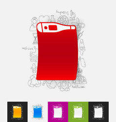 Thermometer paper sticker with hand drawn elements vector