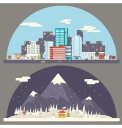Winter snow urban countryside landscape city vector