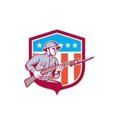World War One Soldier American Retro Shield vector image vector image