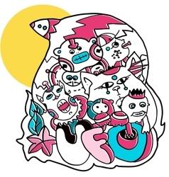 alien imaginary creatures doodle vector image