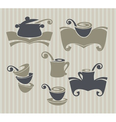 collection of cooking stuff and food symbol vector image vector image