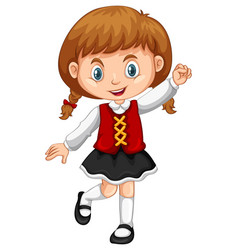 girl from switzerland on white background vector image vector image