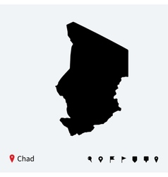 High detailed map of Chad with navigation pins vector image vector image
