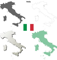 Italy outline map set vector image vector image