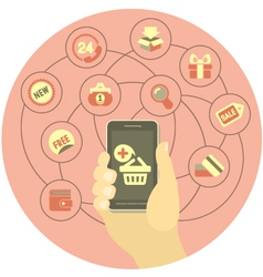 Online Shopping Concept with a Phone vector image vector image