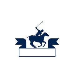 Polo Player Riding Horse Ribbon Retro vector image