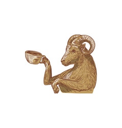Ram Goat Drinking Coffee Drawing vector image