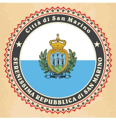Vintage label cards of San Marino flag vector image