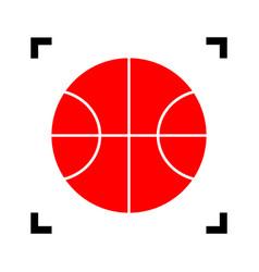 basketball ball sign red vector image vector image