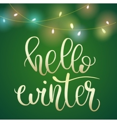 Phrase Hello Winter on green Christmas backround vector image vector image