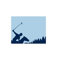 Polo Player Riding Horse Trees Square Retro vector image vector image