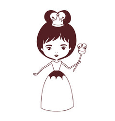 Queen with crown and scepter in brown dotted vector
