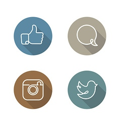 Social network icons and stickers set vector image vector image