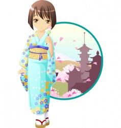 spring kimono girl vector image vector image
