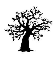 Black tree with leaves silhouette on white vector image