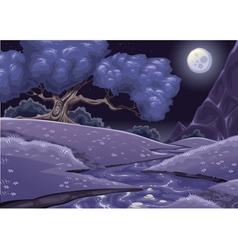 Cartoon nightly landscape with stream vector