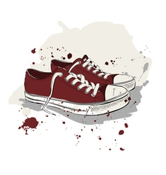 Drawing with red sneakers vector image