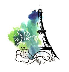 hand drawn sketch of the eiffel tower vector image