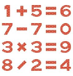 Numbers set brick vector image vector image