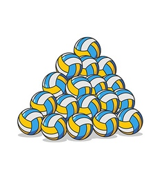 Pile volleyball ball Many volleyball balls Sports vector image