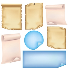 Set of paper isolated on white background vector