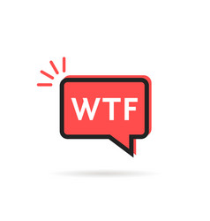 simple wtf icon in red speech bubble vector image vector image