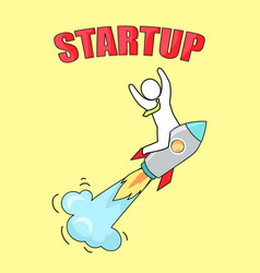 startup man on launched rocket vector image vector image