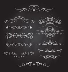 vintage calligraphic vignettes and dividers set vector image