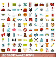 100 sport award icons set flat style vector image