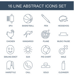 16 abstract icons vector