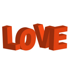 3d letters in word love concept of vector image