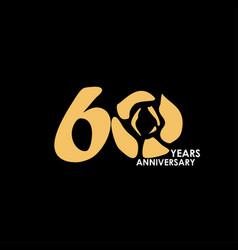 60 year anniversary flower template design vector