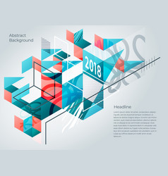 Abstract isometric background of geometric shapes vector
