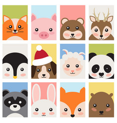 adorable baanimals faces cartoon vector image