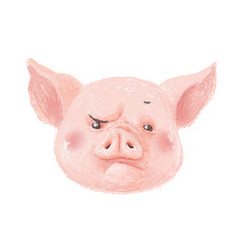 Adorable pig character frowns cute little piglet vector