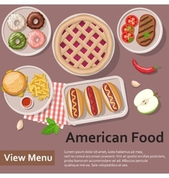 American food Fast food Flat Lay Style vector