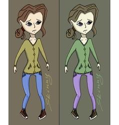 Anorexia girl vector image