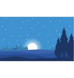 At night deer with moon Christmas landscape vector