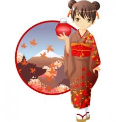 Autumn kimono girl vector