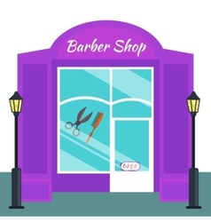 Baber shop stores front flat style vector