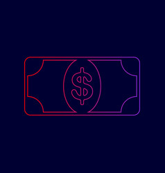 bank note dollar sign line icon with vector image