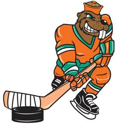 Beaver hockey sports logo mascot vector