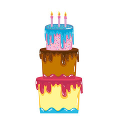 Big cake with three floors style vector