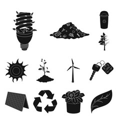 Bio and ecology black icons in set collection for vector