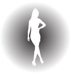 black silhouette of a beautiful girl on a white vector image