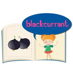 Blackcurrant on children book vector