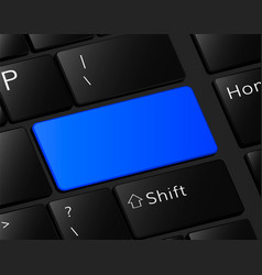 Blank button on keyboard empty blue button frame vector