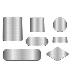 Brushed metal plates set of geometric shape vector